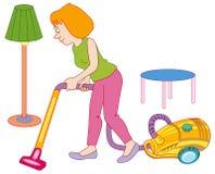 Donna che fa pulizia della casa Fotografie Stock Libere da Diritti