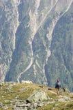 Donna che fa un'escursione in montagne Fotografia Stock Libera da Diritti