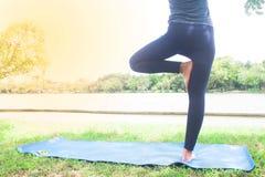 Donna che fa yoga in parco, stile di vita sano Immagine Stock Libera da Diritti