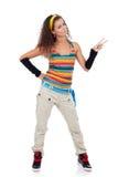Donna che è felice e che gesturing vittoria Fotografie Stock