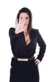 Donna che gesturing fermata con la mano immagine stock