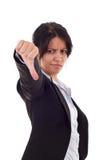 Donna che gesturing i pollici giù Fotografie Stock Libere da Diritti