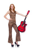 Donna che gioca chitarra isolata Fotografie Stock