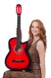 Donna che gioca chitarra isolata Immagini Stock Libere da Diritti