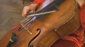 Donna che gioca il contrabbasso nell'orchestra archivi video