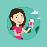 Donna che gioca il gioco di azione sullo smartphone Immagine Stock