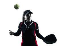 Donna che gioca la siluetta dei giocatori di softball isolata Fotografie Stock Libere da Diritti