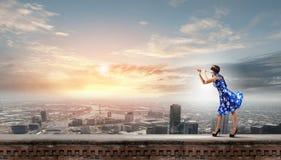Donna che gioca piffero Immagine Stock Libera da Diritti