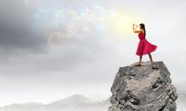 Donna che gioca scanalatura Fotografie Stock