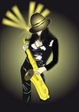 Donna che gioca sul sassofono illustrazione di stock