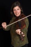 Donna che gioca violon Fotografia Stock Libera da Diritti