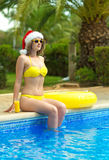 Donna che gode delle sue vacanze di natale Fotografia Stock Libera da Diritti