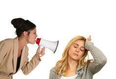 Donna che grida a Anoher Fotografia Stock