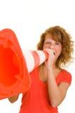 Donna che grida nel cono di traffico fotografie stock libere da diritti