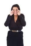 Donna che grida nel fondo bianco immagini stock libere da diritti
