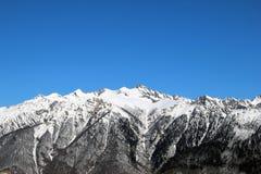 Donna che guarda le montagne innevate Immagini Stock Libere da Diritti