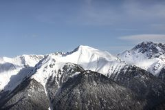 Donna che guarda le montagne innevate Alpi, paesaggio di inverno Stazione sciistica Bellamonte, Lusia, Valbona, dolomia, Italia,  Immagine Stock Libera da Diritti