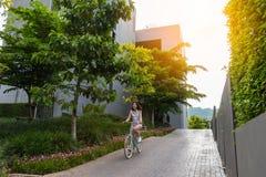 Donna che guida la bicicletta con luce solare Fotografia Stock Libera da Diritti