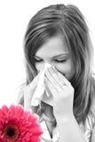 Donna che ha allergia dai fiori della sorgente Fotografie Stock Libere da Diritti