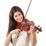 Donna che impara giocare violino Immagine Stock
