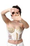 Donna che incornicia i suoi occhi Fotografia Stock