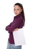 Donna che indica ad una scheda in bianco Immagine Stock Libera da Diritti