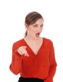 Donna che indica dito e gridare fotografia stock libera da diritti