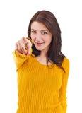 Donna che indica su voi Fotografie Stock Libere da Diritti