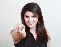 Donna che indica voi Immagini Stock Libere da Diritti