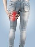 Donna che la massaggia tendini del ginocchio - muscoli di anatomia Immagini Stock Libere da Diritti