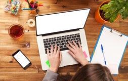 Donna che lavora al computer portatile immagini stock libere da diritti