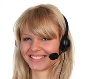Donna che lavora sopra nel servizio di assistenza al cliente immagini stock libere da diritti