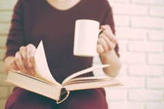 Donna che legge il libro Immagini Stock Libere da Diritti