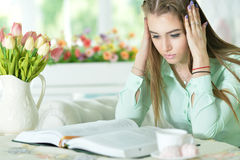 Donna che legge libro interessante Immagini Stock