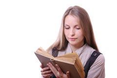Donna che legge un libro, isolato Fotografia Stock Libera da Diritti