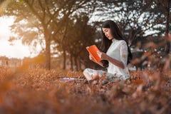 Donna che legge un libro nella sosta Fotografie Stock