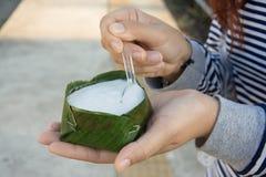 Donna che mangia budino con la guarnizione della noce di cocco Fotografia Stock Libera da Diritti