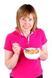 Donna che mangia cereale Fotografia Stock Libera da Diritti