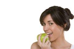 donna che mangia la mela della nonna Immagini Stock Libere da Diritti