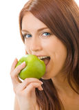 Donna che mangia mela, isolata Fotografie Stock Libere da Diritti