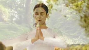 Donna che medita circa la foresta archivi video