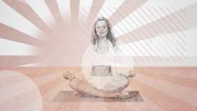 Donna che Meditating video d archivio