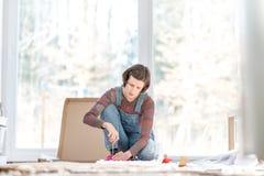 Donna che mette la mobilia domestica del togehther Fotografia Stock Libera da Diritti