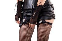 Donna che mette sulle calze Fotografia Stock Libera da Diritti