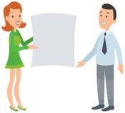 Donna che mostra ad uomo un grande documento illustrazione di stock