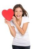 Donna che mostra cuore Fotografia Stock Libera da Diritti