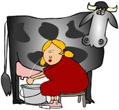 Donna che munge una mucca Fotografia Stock Libera da Diritti