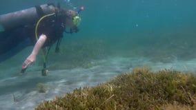 Donna che naviga usando una presa d'aria underwater video d archivio