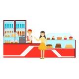 Donna che ordina a contro, Person Having sorridente un dessert nell'illustrazione dolce di vettore del caffè della pasticceria Immagine Stock Libera da Diritti