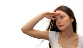 Donna che osserva in avanti Fotografia Stock